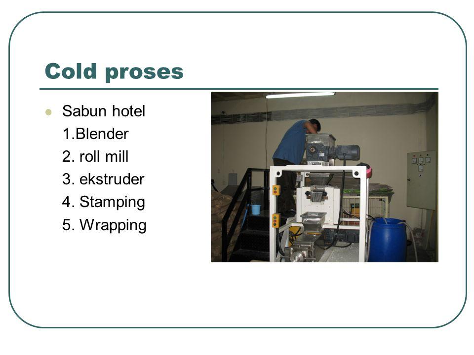 Cold proses Sabun hotel 1.Blender 2. roll mill 3. ekstruder