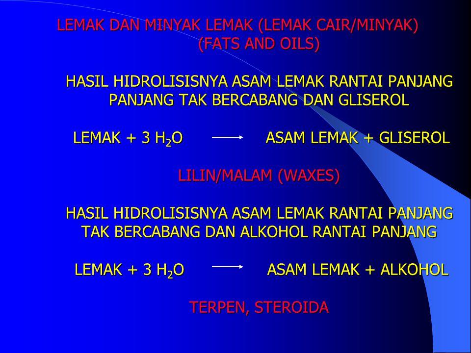 LEMAK DAN MINYAK LEMAK (LEMAK CAIR/MINYAK) (FATS AND OILS) HASIL HIDROLISISNYA ASAM LEMAK RANTAI PANJANG PANJANG TAK BERCABANG DAN GLISEROL LEMAK + 3 H2O ASAM LEMAK + GLISEROL LILIN/MALAM (WAXES) HASIL HIDROLISISNYA ASAM LEMAK RANTAI PANJANG TAK BERCABANG DAN ALKOHOL RANTAI PANJANG LEMAK + 3 H2O ASAM LEMAK + ALKOHOL TERPEN, STEROIDA