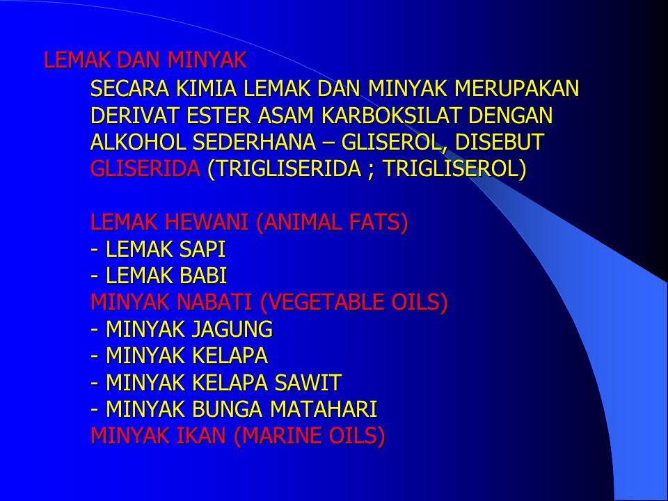 LEMAK DAN MINYAK SECARA KIMIA LEMAK DAN MINYAK MERUPAKAN DERIVAT ESTER ASAM KARBOKSILAT DENGAN ALKOHOL SEDERHANA – GLISEROL, DISEBUT GLISERIDA (TRIGLISERIDA ; TRIGLISEROL) LEMAK HEWANI (ANIMAL FATS) - LEMAK SAPI - LEMAK BABI MINYAK NABATI (VEGETABLE OILS) - MINYAK JAGUNG - MINYAK KELAPA - MINYAK KELAPA SAWIT - MINYAK BUNGA MATAHARI MINYAK IKAN (MARINE OILS)