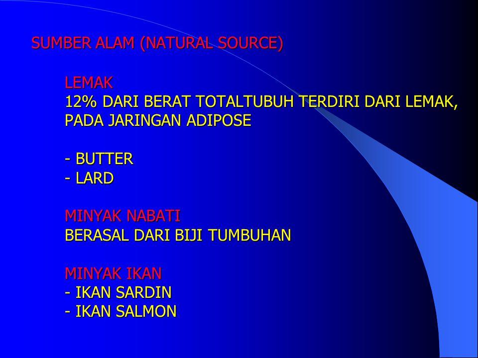 SUMBER ALAM (NATURAL SOURCE) LEMAK 12% DARI BERAT TOTALTUBUH TERDIRI DARI LEMAK, PADA JARINGAN ADIPOSE - BUTTER - LARD MINYAK NABATI BERASAL DARI BIJI TUMBUHAN MINYAK IKAN - IKAN SARDIN - IKAN SALMON