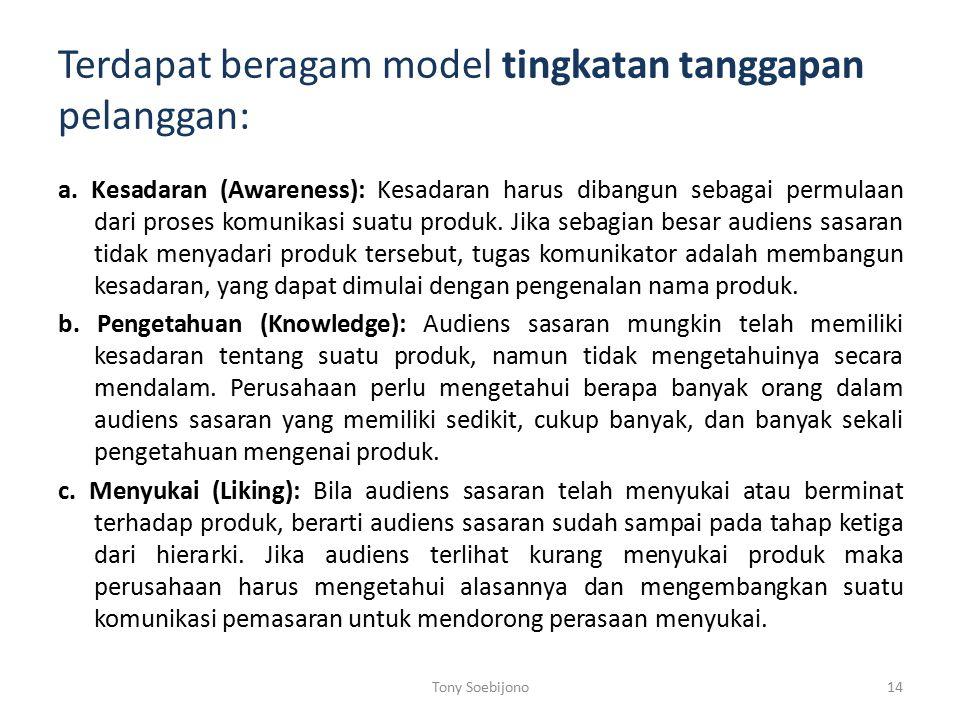 Terdapat beragam model tingkatan tanggapan pelanggan: