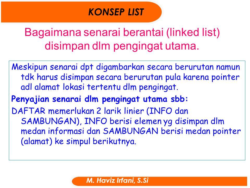 Bagaimana senarai berantai (linked list) disimpan dlm pengingat utama.