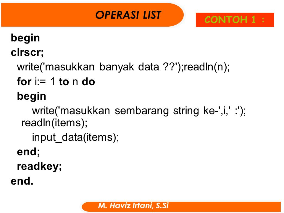 write( masukkan banyak data );readln(n); for i:= 1 to n do