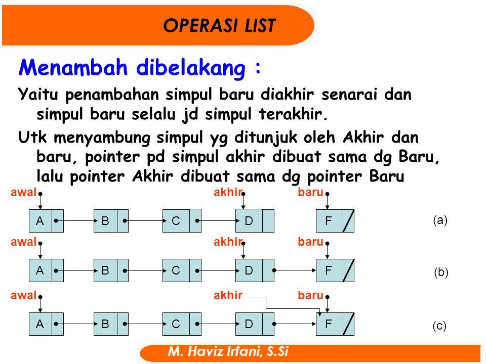 Menambah dibelakang : OPERASI LIST