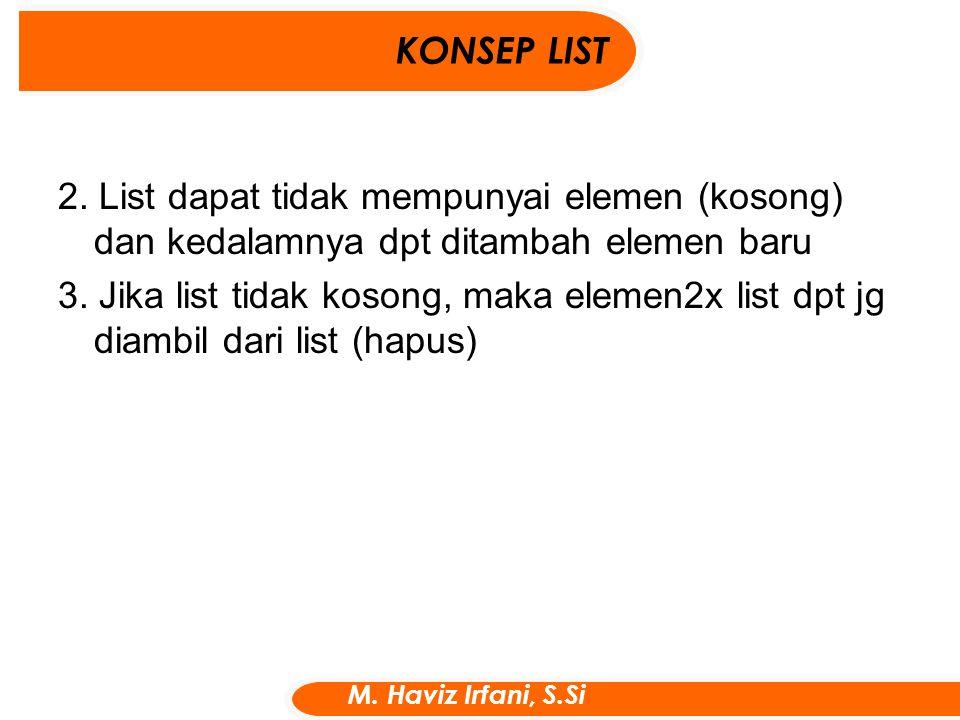 KONSEP LIST 2. List dapat tidak mempunyai elemen (kosong) dan kedalamnya dpt ditambah elemen baru.