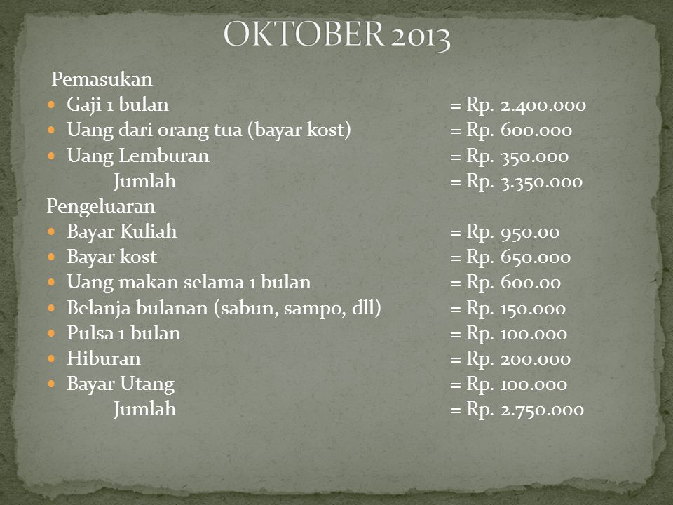 OKTOBER 2013 Pemasukan Gaji 1 bulan = Rp. 2.400.000