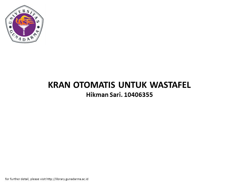 KRAN OTOMATIS UNTUK WASTAFEL Hikman Sari. 10406355