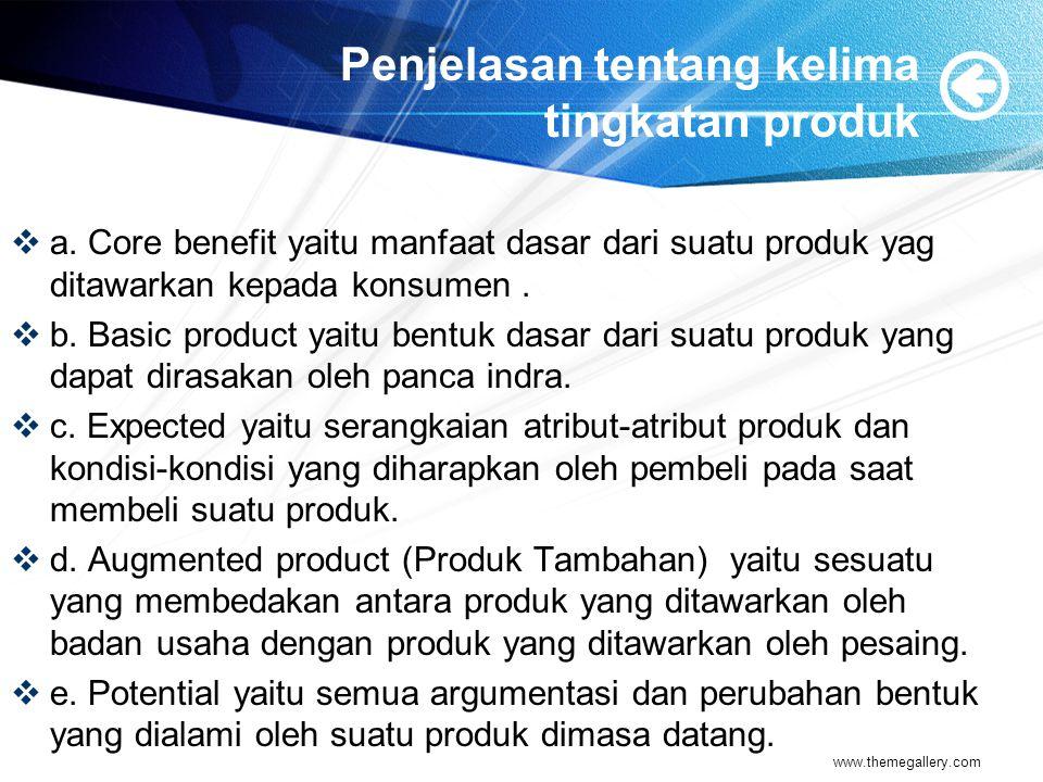 Penjelasan tentang kelima tingkatan produk