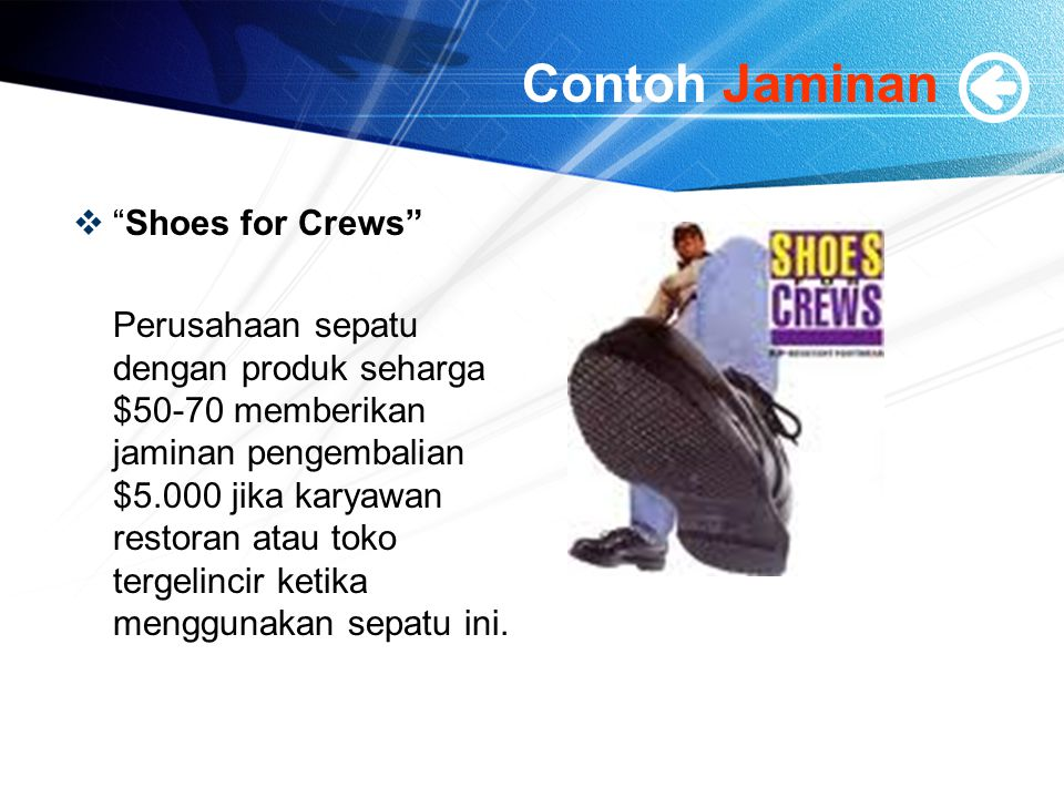 Contoh Jaminan Shoes for Crews