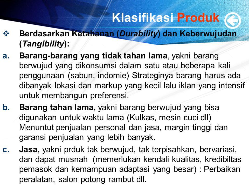 Klasifikasi Produk Berdasarkan Ketahanan (Durability) dan Keberwujudan (Tangibility):