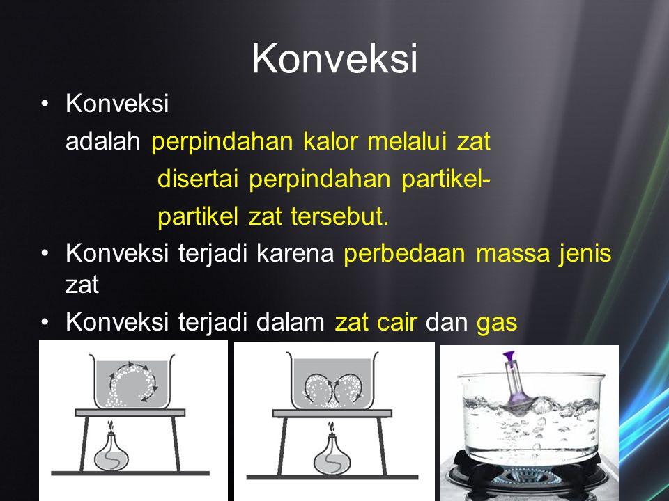 Konveksi Konveksi adalah perpindahan kalor melalui zat