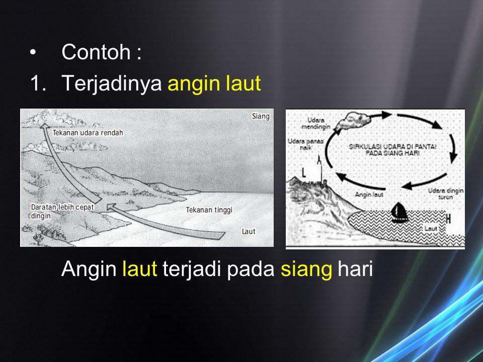 Contoh : Terjadinya angin laut Angin laut terjadi pada siang hari