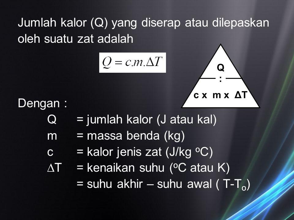 Jumlah kalor (Q) yang diserap atau dilepaskan oleh suatu zat adalah