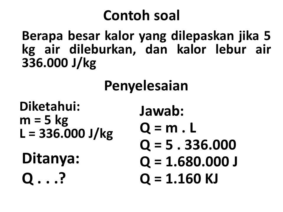 Ditanya: Q . . . Contoh soal Penyelesaian Jawab: Q = m . L