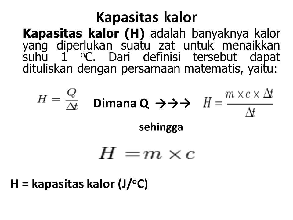 Kapasitas kalor Dimana Q →→→ H = kapasitas kalor (J/oC)
