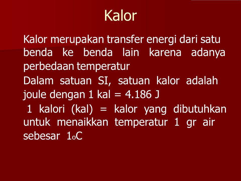 Kalor Kalor merupakan transfer energi dari satu