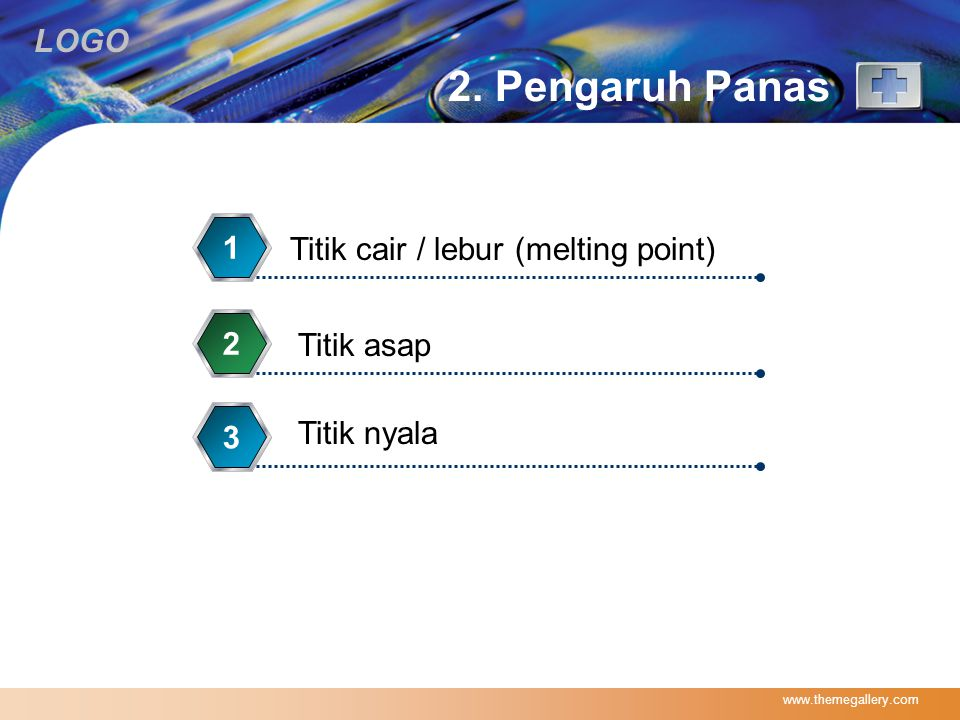 2. Pengaruh Panas 1 Titik cair / lebur (melting point) 2 Titik asap