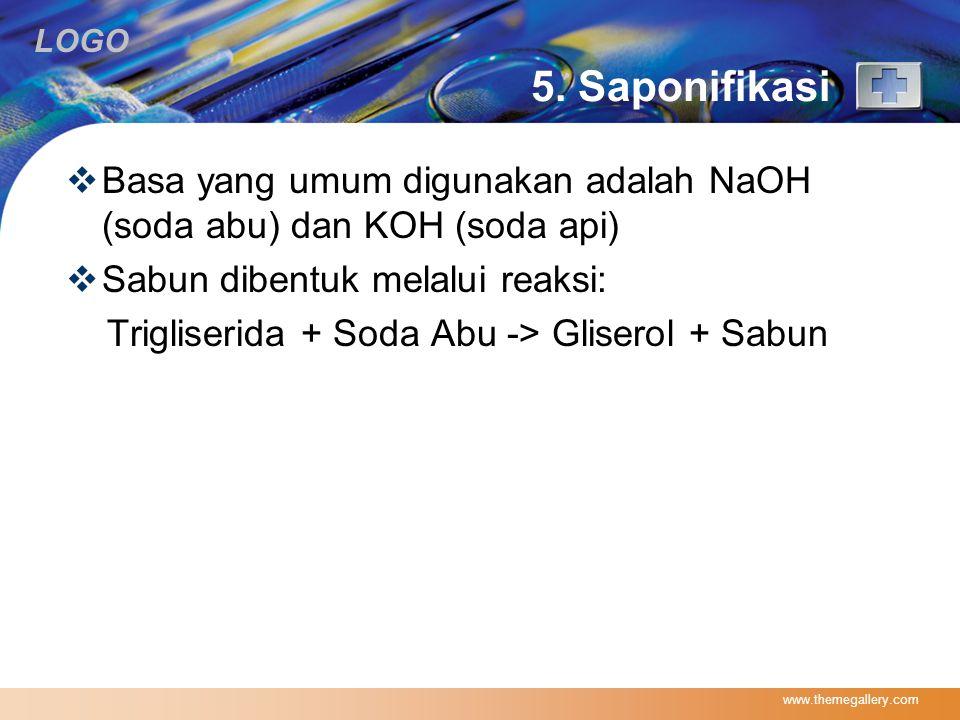 5. Saponifikasi Basa yang umum digunakan adalah NaOH (soda abu) dan KOH (soda api) Sabun dibentuk melalui reaksi: