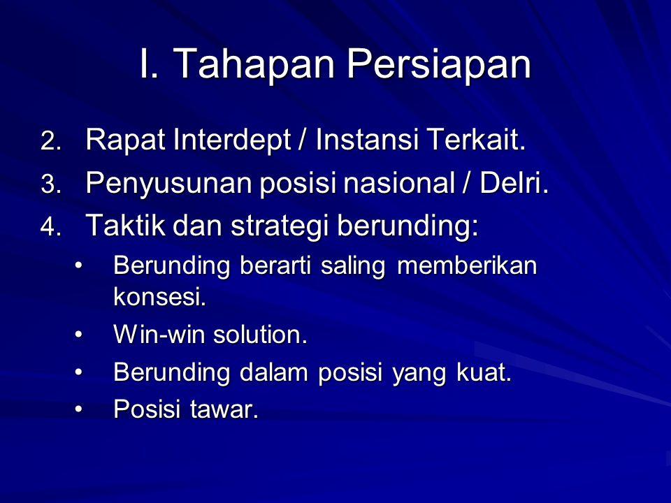 I. Tahapan Persiapan Rapat Interdept / Instansi Terkait.