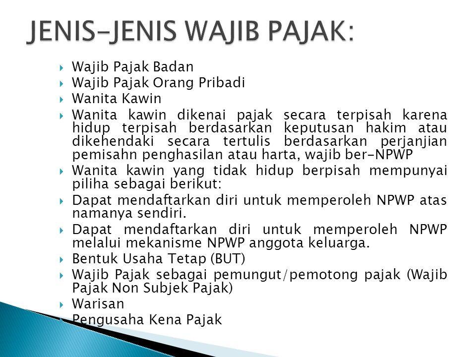 JENIS-JENIS WAJIB PAJAK: