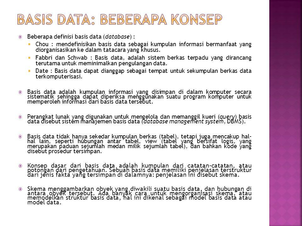 Basis Data: Beberapa Konsep