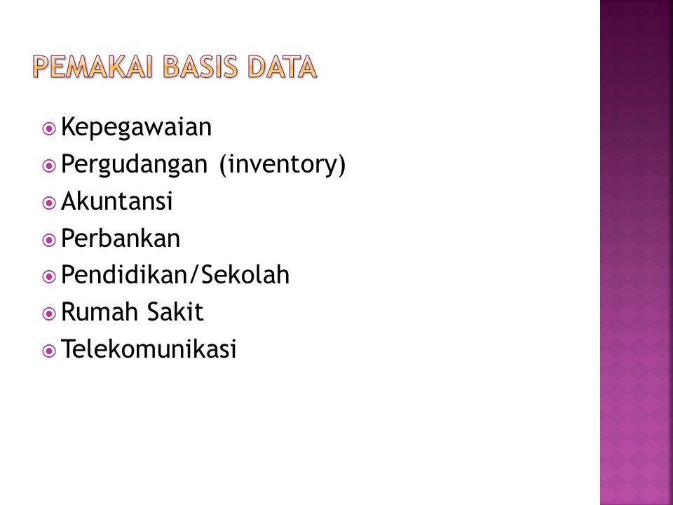 Pemakai Basis Data Kepegawaian Pergudangan (inventory) Akuntansi