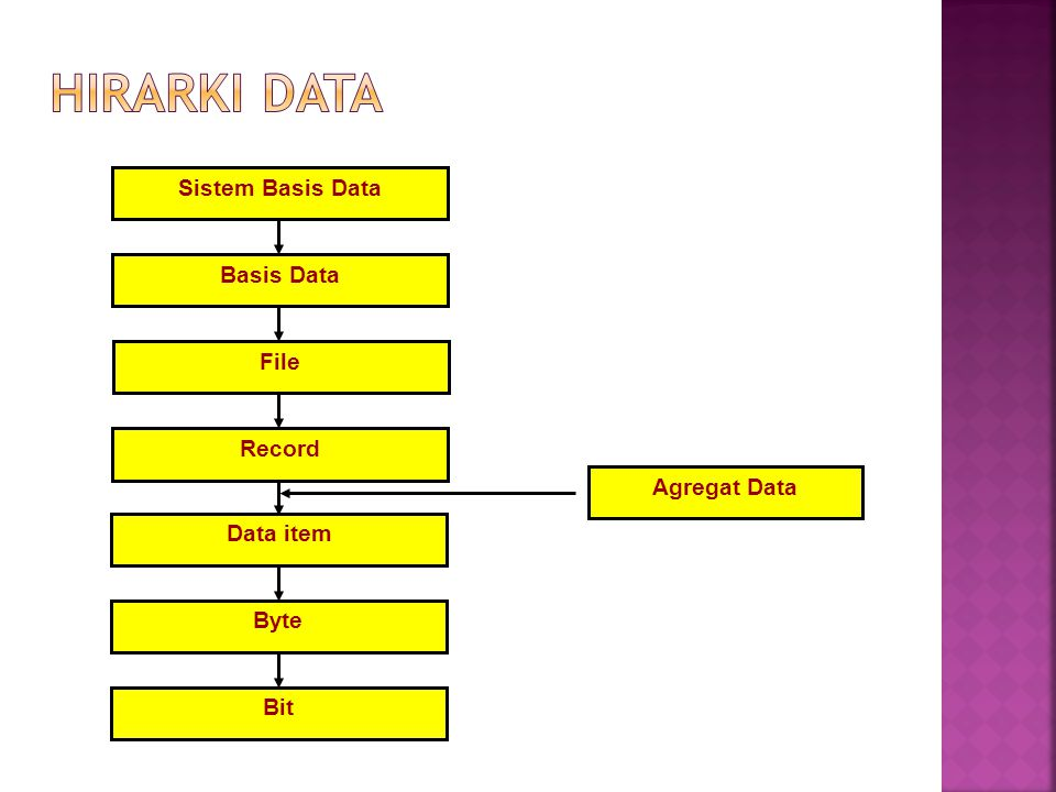 Hirarki Data Sistem Basis Data Basis Data File Record Agregat Data