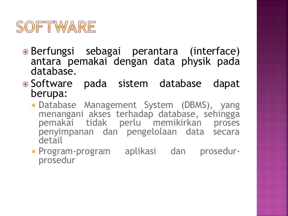 Software Berfungsi sebagai perantara (interface) antara pemakai dengan data physik pada database.