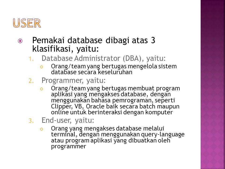 User Pemakai database dibagi atas 3 klasifikasi, yaitu: