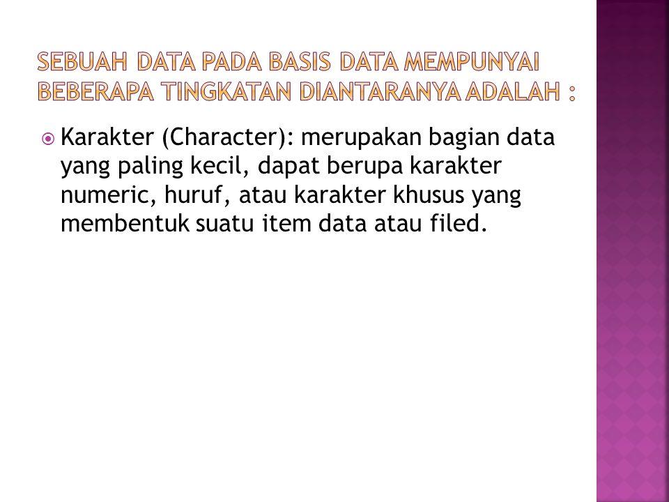 Sebuah data pada basis data mempunyai beberapa tingkatan diantaranya adalah :