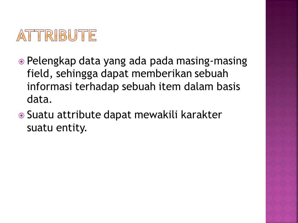 Attribute Pelengkap data yang ada pada masing-masing field, sehingga dapat memberikan sebuah informasi terhadap sebuah item dalam basis data.