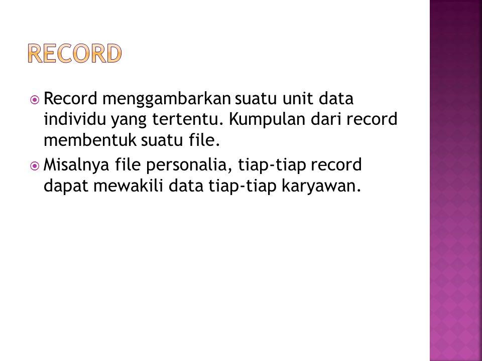Record Record menggambarkan suatu unit data individu yang tertentu. Kumpulan dari record membentuk suatu file.