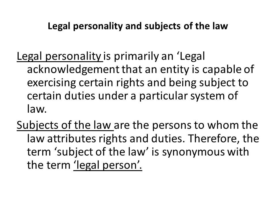 Legal personality and subjects of the law