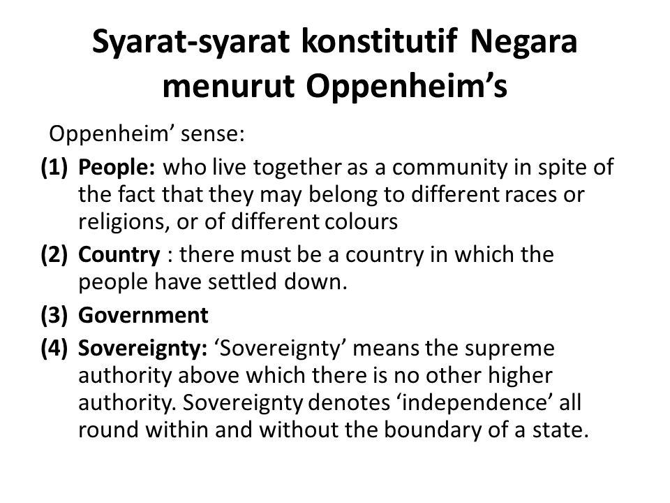 Syarat-syarat konstitutif Negara menurut Oppenheim's