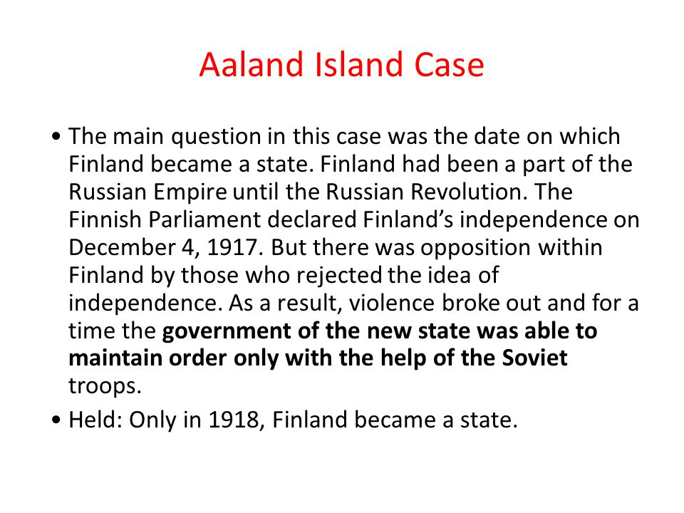 Aaland Island Case