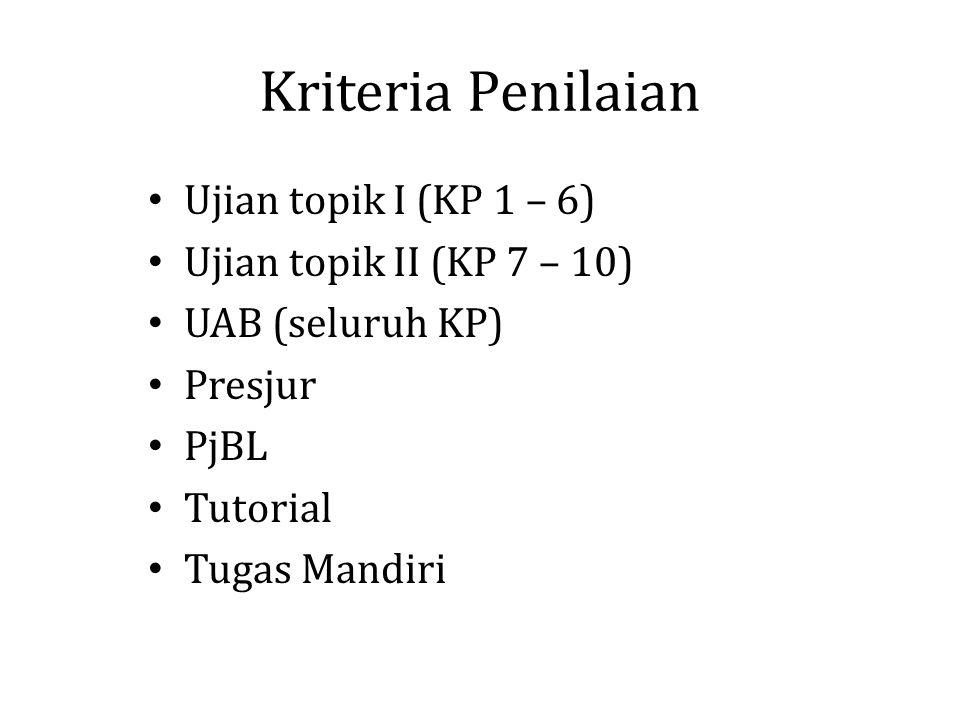 Kriteria Penilaian Ujian topik I (KP 1 – 6) Ujian topik II (KP 7 – 10)