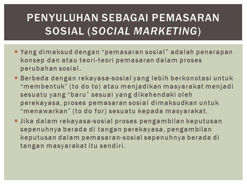 PENYULUHAN SEBAGAI Pemasaran SOSIAL (SOCIAL MARKETING)