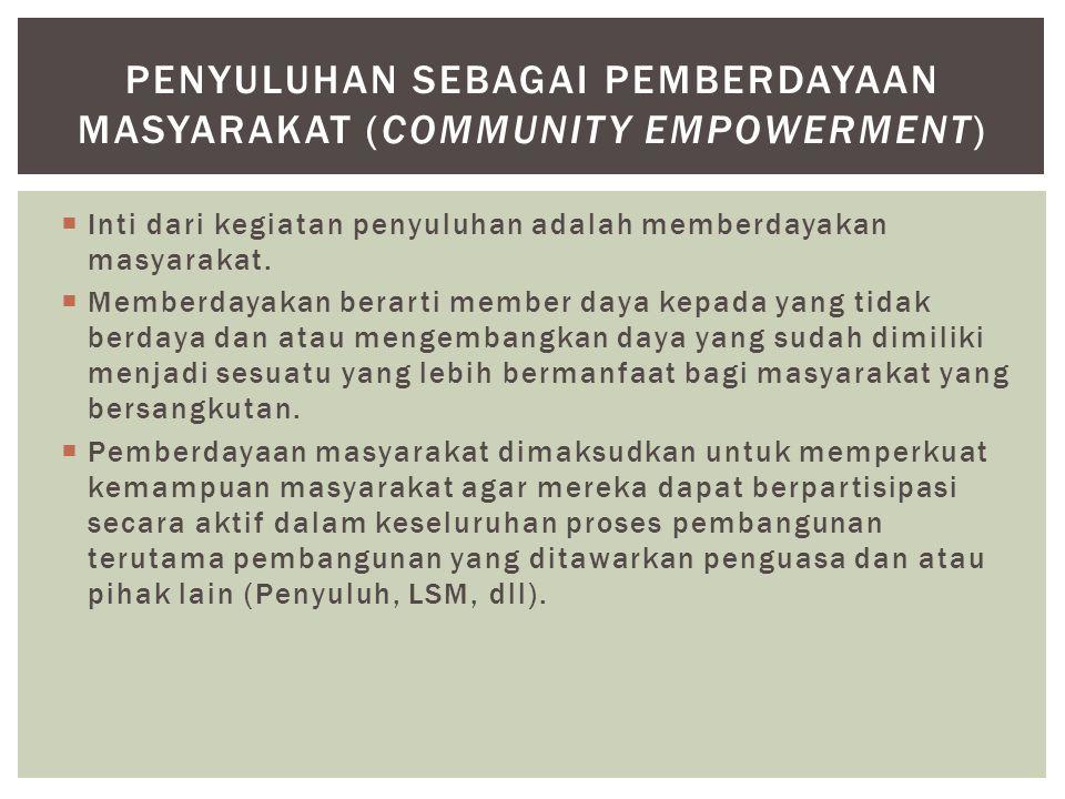 PENYULUHAN SEBAGAI Pemberdayaan masyarakat (community empowerment)
