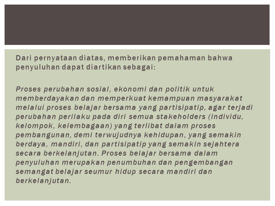 Dari pernyataan diatas, memberikan pemahaman bahwa penyuluhan dapat diartikan sebagai: