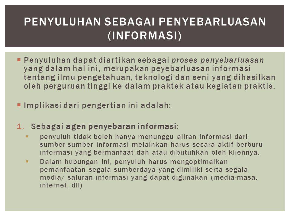 Penyuluhan sebagai Penyebarluasan (informasi)