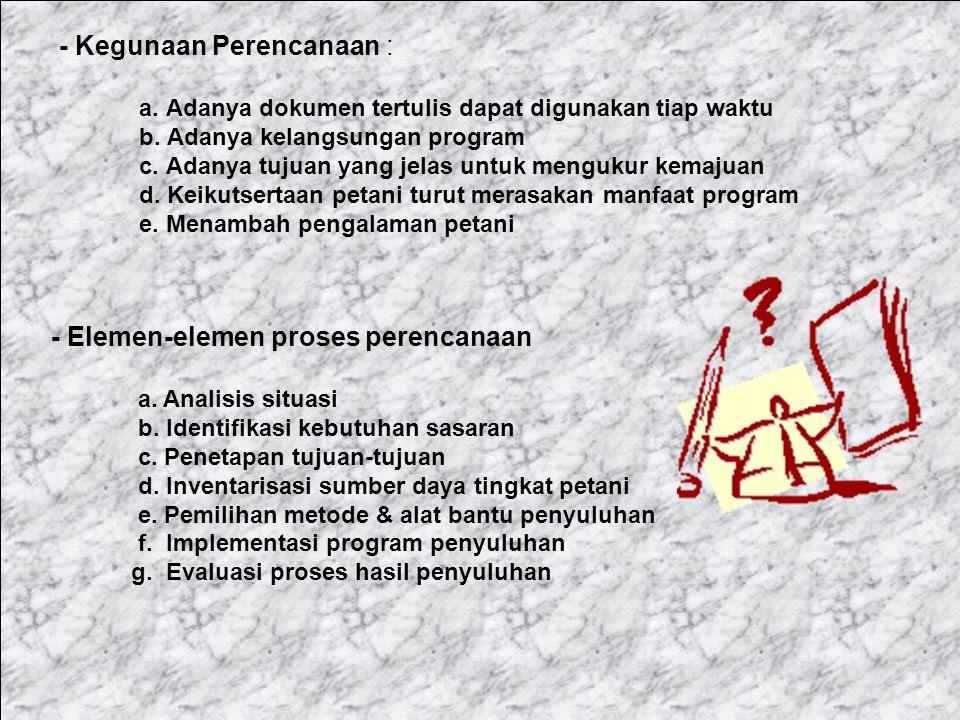 - Elemen-elemen proses perencanaan