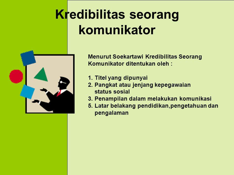Kredibilitas seorang komunikator