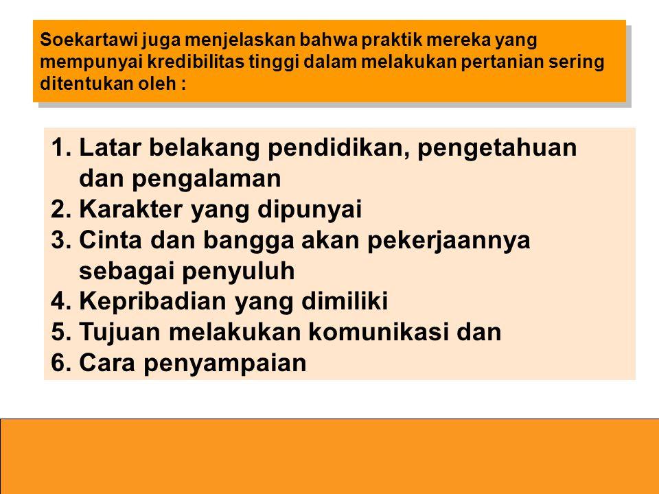 1. Latar belakang pendidikan, pengetahuan dan pengalaman