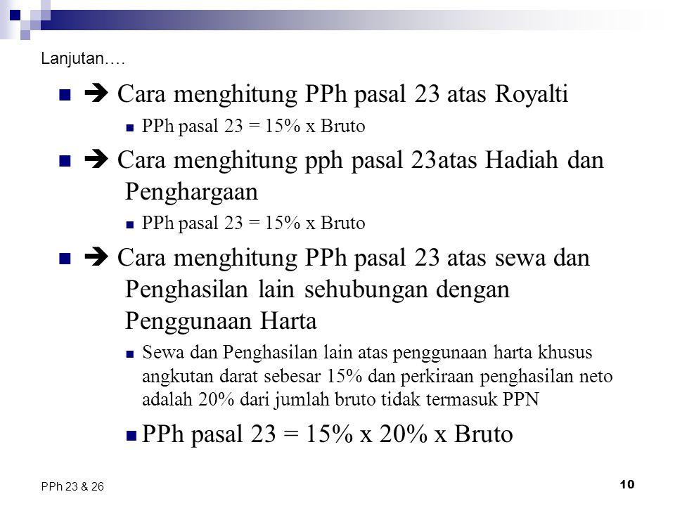  Cara menghitung PPh pasal 23 atas Royalti