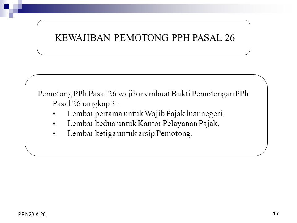 KEWAJIBAN PEMOTONG PPH PASAL 26