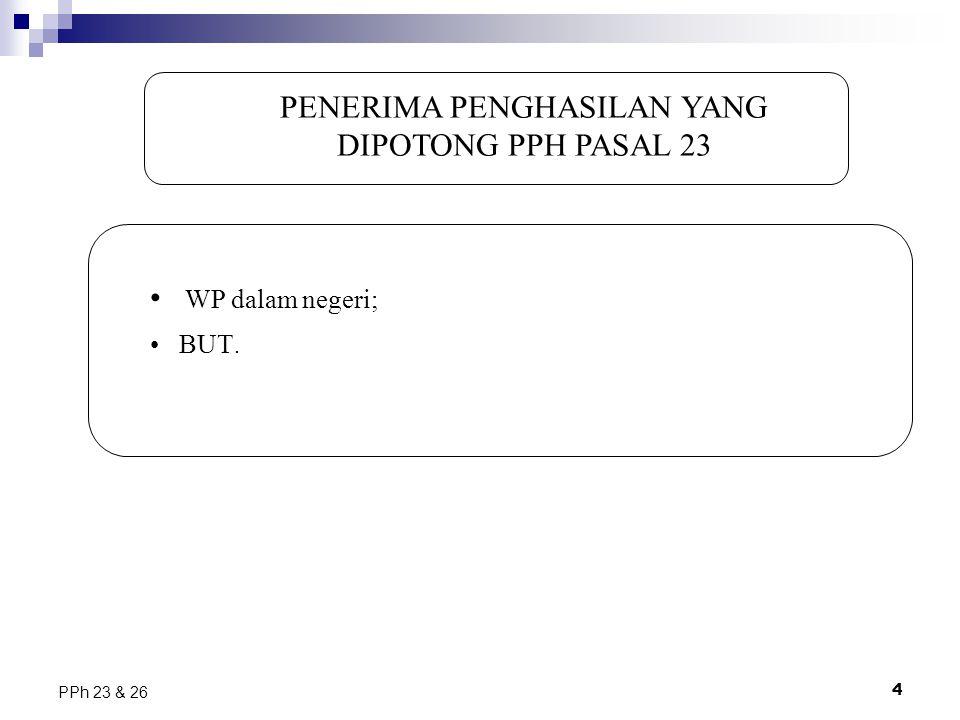 PENERIMA PENGHASILAN YANG DIPOTONG PPH PASAL 23