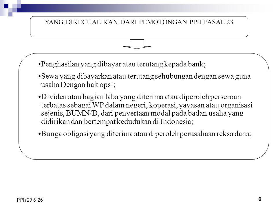YANG DIKECUALIKAN DARI PEMOTONGAN PPH PASAL 23