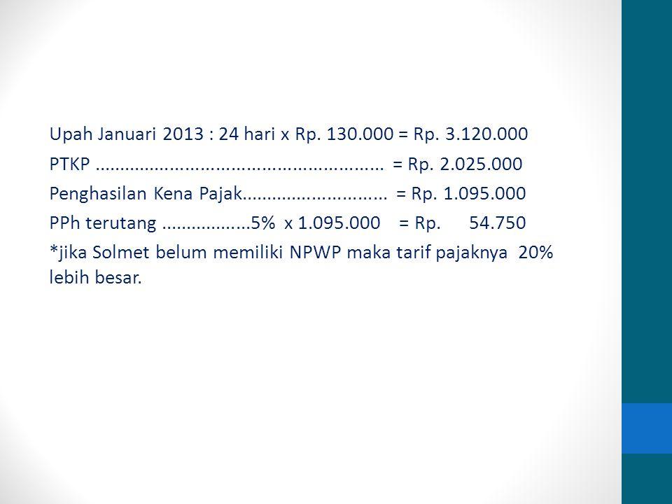Upah Januari 2013 : 24 hari x Rp. 130.000 = Rp.
