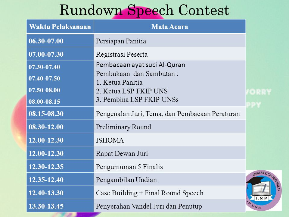 Rundown Speech Contest