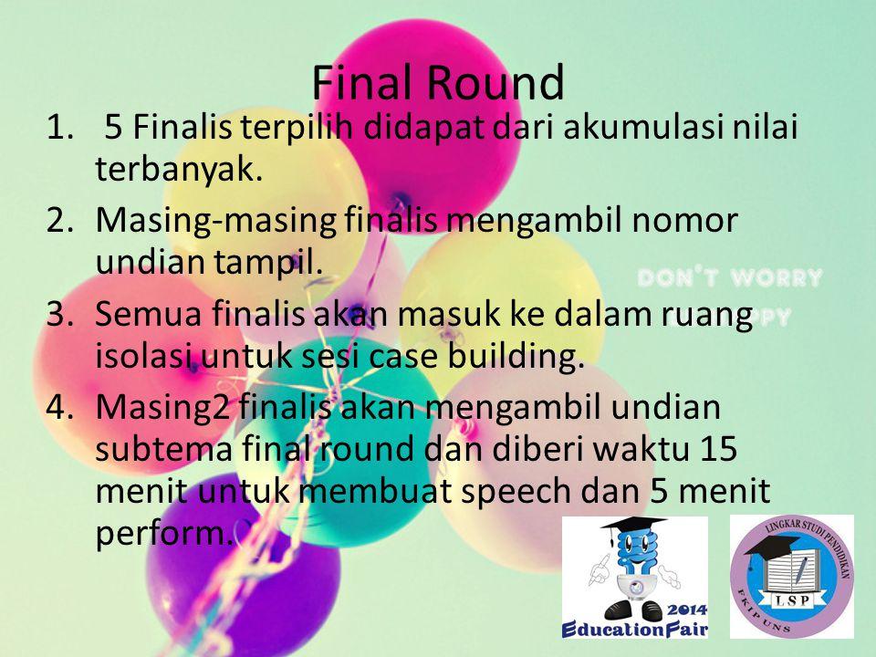 Final Round 5 Finalis terpilih didapat dari akumulasi nilai terbanyak.